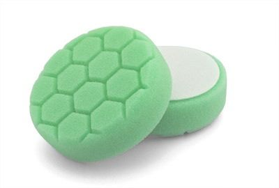 "Flexipads Hex Groove Logic 4"" 100mm Spot Pro-Detail Green Heavy Polishing Pad"